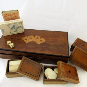 Antique Mahogany Inlaid Game Box.