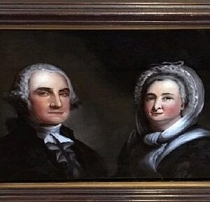 Reverse Painting on Glass of George and Martha Washington by W. M. Prior